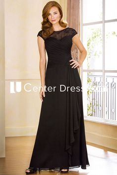 $134.39-Eelgant Long Long Black Mother Of The Bride Dress With Cap-Sleeves and Illusion Back. http://www.ucenterdress.com/cap-sleeved-a-line-mother-of-the-bride-dress-with-ruffles-and-illusion-back-pMK_300978.html.  Tailor Made mother of the groom dress/ mother of the brides dress at #UcenterDress. We offer a amazing collection of 800+ Mother of the Groom dresses so you can look your best on your daughter's or son's special day. Low Prices, Free Shipping. #motherdress