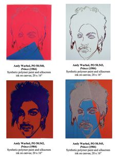 Portraits of Prince by Warhol: Red/Blue Prince by Warhol 1984 White Prince Tan Prince Blue Prince Warhol Paintings, Orange Painting, Unique Paintings, Roger Nelson, Prince Rogers Nelson, Andy Warhol, Sketching, Red And Blue, Portraits