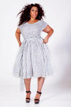 JIBRI Plus Size Swing Dress Gray/White by jibrionline on Etsy, $210