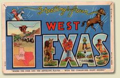 """Greetings from West Texas"" vintage postcard"