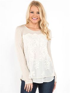 zoom image of Embroidered Mesh Overlay Top