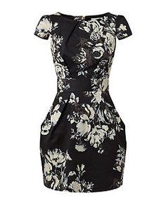 Closet Black Floral Print Tie Back Dress | New Look
