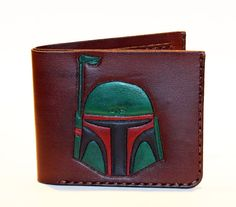 Great unique brown leather wallet with Bobba Fett! Color: brown Size: length…