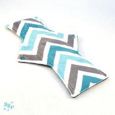 Cloth Menstrual Pad, Mama Cloth, Minky, Sanitary, Reusable, Maternity, WindPro Polartec Fleece, Postpartum Night Pad, Zig Zag Turquoise Grey