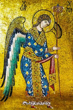 12th-century mosaic of Holy Archangel Michael from the Byzantine part of La Martorana, also known as Santa Maria dell'Ammiraglio in Palermo, Sicily.