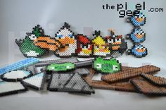 Mini Angry Birds perler bead pixel art by Pixel Geex