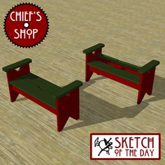 """A small country style bench with storage under the seat. Be sure to like Chief's Shop on Facebook! Prizes are awarded at various levels of """"likes"""". Free woodworking plans available here…"""