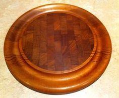 VTG Dansk Round Staved Wood Teak Carving Cheese Board Mid Century Danish Modern