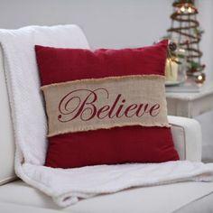 Red Believe Burlap Pillow | Kirklands