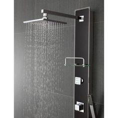 d retrofit 2jet shower panel system in black tempered glass