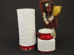 Bisquit Vasen-Set (2 Vasen), weiß-rote Porzellanvasen, Germany Royal Porzellan Bavaria KPM 60er 70er, Op Art, Swing Vase von ShabbRockRepublic auf Etsy