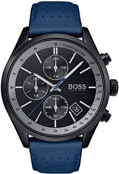 1d0b3d6e7a8a Boss Hugo Boss Men s Chronograph Grand Prix Blue Perforated Leather Strap  Watch 44mm