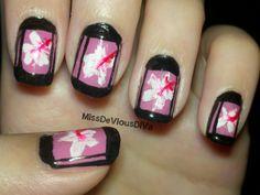 Miss DeVious DiVa: Hibiscus flower nail art