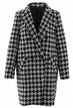Houndstooth Double Breasted Pea Coat
