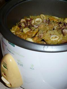 Riz safrané aux fruits de mer avec le rice cooker