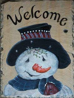 hand painted snowman on slate, love his face