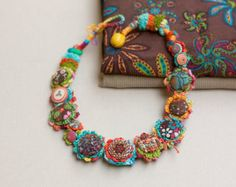 Handmade crochet felt necklace with fabric buttons by rRradionica