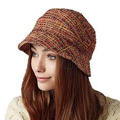 51530611274 Kenmont Autumn Winter Women Lady Fashion Boonie Wool Bucket Hat Outdoor Cap  Orange   Visit the