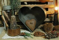 Antique Primitive heart shaped tin baking pan