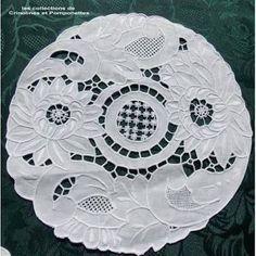 Resultado de imagem para cutwork embroidery | Rose Grey Thread Hand Embroidery Cutwork Cotton Doily Placemat