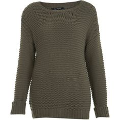 Miss Selfridge Chunky Garter Stitch Sweater (280 VEF) ❤ liked on Polyvore featuring tops, sweaters, jumper, khaki, chunky, slouch sweater, miss selfridge, khaki jumper, chunky sweater and stitch sweater