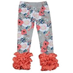 Spring easter baby organic icing legging wholesale children's boutique clothing floral print girls ruffle pants for Valentine's