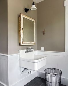 square mirror square sink gold + white + taupe + black floors thebubbreport: Steal This Look: Vintage Bath from Country Living Magazine: Remodelista Bathroom Images, Taupe Walls, Taupe Bathroom, Bathroom Styling, Bathroom Wall Colors, Vintage Bath, Vintage Sink, Sink, Vintage Medicine Cabinets