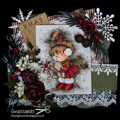 Copics I used: Skin: Hair: 31 Red: 22 Green: 93 Cat: Pencils: Dark Umber, Black Z Cards, Xmas Cards, Cute Cards, Handmade Christmas, Christmas Crafts, Christmas Ideas, Whimsy Stamps, Digi Stamps, Magnolia Stamps