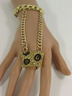 Gold Silver Metal Chains Hand Chain Bracelet Slave Ring Bling Big Leopard Black Brown Rhinestones New Women Fashion Jewelry Accessories
