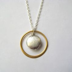 Sterling Disc Necklace, Vermeil Circle Necklace, Minimal Jewelry, Mixed Metal Jewelry, Modern Jewelry, Geometric Jewelry, Under 50. $32.00, via Etsy.