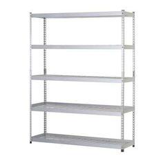 Husky 5-Shelf 60 in. W x 78 in. H x 24 in. D Steel Storage Shelving Unit in Silver-MR602478W5 at The Home Depot