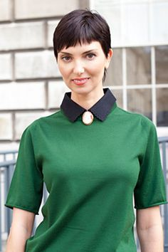Backstage Beauty Files: LONDON FW SPRING 2013 - Makeup Artist Olga Stepanenko's perfect pixie cut looked amazing with her hunter green Louis Vuitton top.