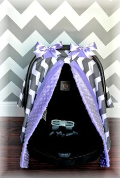 MINKY+carseat+canopy+car+seat+cover+LAVENDER+by+JaydenandOlivia,+$57.99