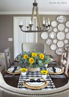 Dining room decorated for fall - love the sunflowers in the teacups!