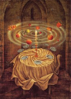 "Remedios Varo's last painting, ""Still Life Reviving"" 1963 Art Visionnaire, Surrealism Painting, Painting Gif, Art Brut, Mexican Artists, Inspiration Art, Art Abstrait, Salvador Dali, Surreal Art"