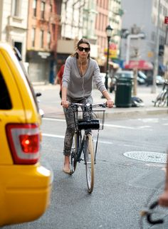 NYC girl biking in style + her Chanel