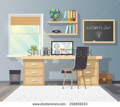 Workplace in sunny room. Stylish and modern interior.Quality design illustration, elements and concept. Flat style.#2