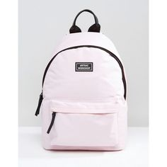 Artsac Backpack With Front Pocket (130 RON) ❤ liked on Polyvore featuring bags, backpacks, pink, pink bag, pink lining backpack, backpack bags, day pack backpack and zip bag