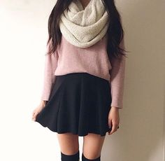 Skirts and cropped knitted sweaters for fall<3