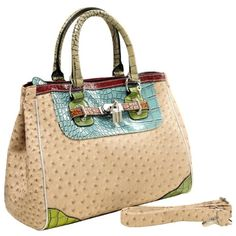 MG Collection KAEDE Classy Beige Ostrich Embossed w/ Faux Crocodile Accents Office Tote Purse $35.50