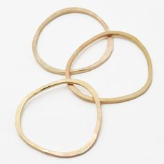 Pebble Rings in 14k Gold Fill, Set of Three - Recycled Metal. $52.00, via Etsy.
