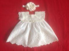 Hand Crochet Newborn Baby Girl Dress - Ivory by MiBeba on Etsy