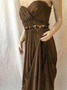 NWT VERA WANG Lavender Label Mink Brown Chiffon Silk Long Gown dress 8 $1495  #VeraWang #EmpireWaist #Formal