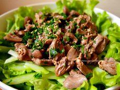 """鶏ハツのサラダ Salade de coeurs de poulet http://franco-japonais.com/tomato/ マダムTOMATOの""""グルメ・ガーデン"""""""