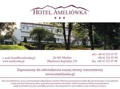 Hotel Ameliówka *** to jeden z najpiękniej położonych obiektów turystyczno - konferencyjnych w Górach Świętokrzyskich. Odwiedź nas na: www.ameliowka.pl