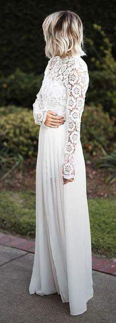 White Wedding Guest Lace Details Maxi Dress | Jo & Kemp                                                                             Source