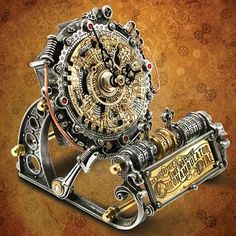 Alchemy Time Machine Chronambulator Dial Gentlemans Steampunk Style Desk Clock