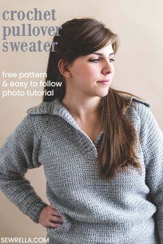 This simple free crochet pattern comes with an easy step-by-step photo tutorial so that you can follow along and crochet with me - making this sweater a breeze to make. #crochet #sweater #howto #sewrella #freepattern #easypattern #pullover #crochetpullover #diy #crafts #forbeginners