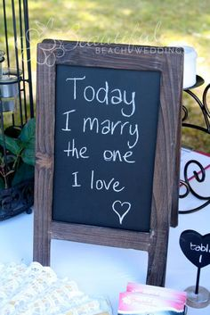 Hanging Items/Signs :: Blackboards :: Small Timber Framed Blackboard - Brown - The Beach Wedding Shop