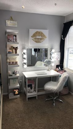 Bedroom Design For Teenage - Interior Design Ideas & Home Decorating Inspiration. Bedroom Design For Teenage - Interior Design Ideas & Home Decorating Inspiration. Cute Bedroom Ideas, Cute Room Decor, Bedroom Themes, Pretty Bedroom, Gray Room Decor, Wall Decor, Diy Beauty Room Decor, Bright Bedroom Ideas, Diy Room Ideas